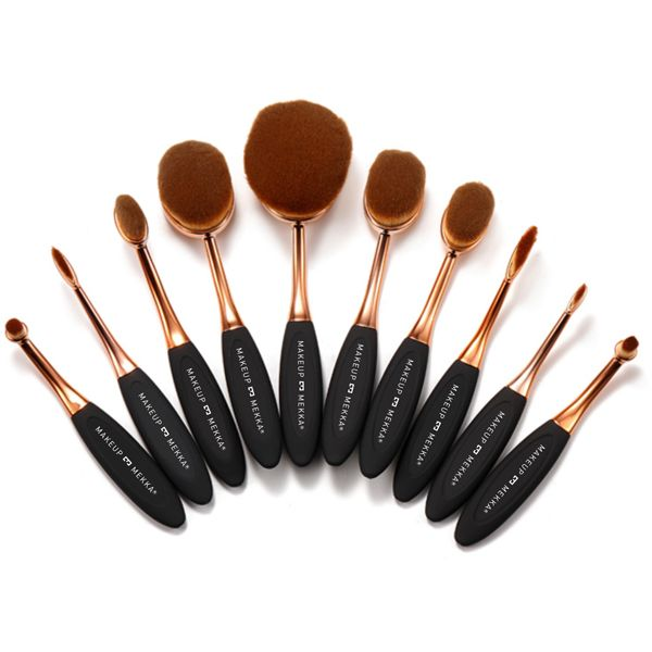 10 PCS Rose Gold Oval Brushes